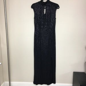 Enfocus Studio Black Sequins Long Cocktail Dress 8